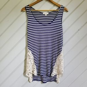 Paper + tee Striped Tank w/ Crochet Inserts